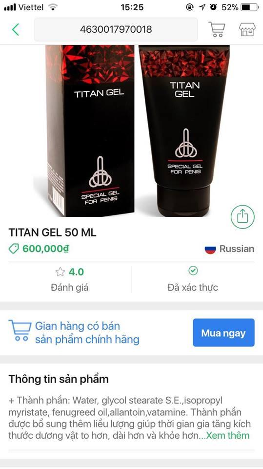 Khi check mã vạch TITAN GEL titan gel TITAN GEL tác dụng - cách dùng - giá - phản hồi titangel